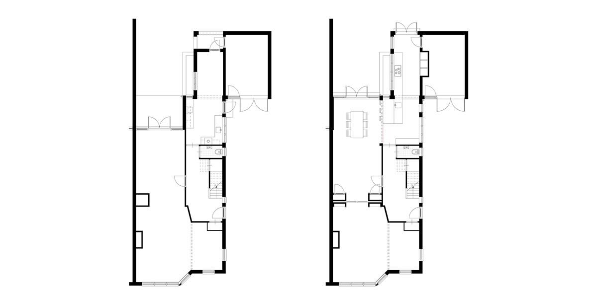 4-2-aanbouw-jaren-30-woning-plattegrond-bestaand-en-nieuwe-situatie